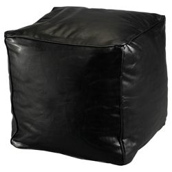 Faux Leather Bean Cube, Black