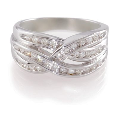 9ct White Gold 25pt Diamond Triple Crossover Ring , L