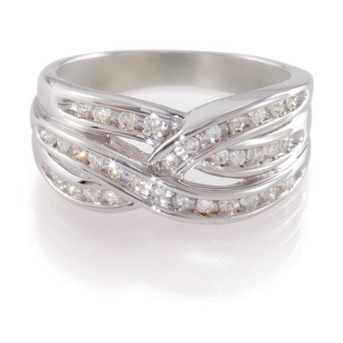 9ct White Gold 25pt Diamond Triple Crossover Ring , L