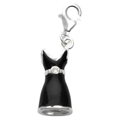 Sterling Silver Black Dress Charm