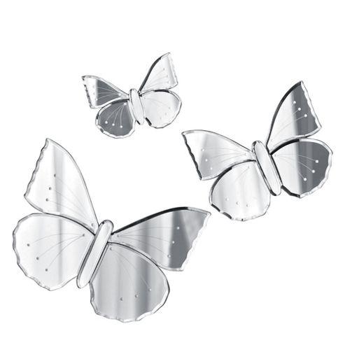 Venetian Set Of 3 Butterfly Mirrors
