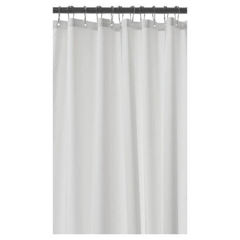 Croydex Plain Textile Shower Curtain Anti-Bac White