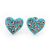Tiny Light Blue Crystal Enamel 'Heart' Stud Earrings In Silver Plated Metal - 10mm Diameter