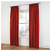 Tesco Plain Canvas Unlined Pencil Pleat Curtains - Red
