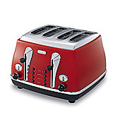 DeLonghi Icona CTO4003 4 Slice Toaster - Red