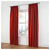Tesco Plain Canvas Unlined Pencil Pleat Curtains - Red