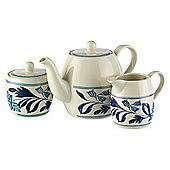 Johnson Bros Farmhouse Kitchen Blue Fern Teapot Set.