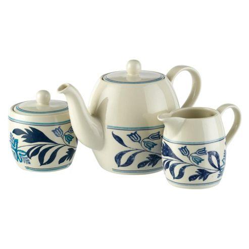 Johnson Bros Farmhouse Kitchen Blue Fern Teapot Set
