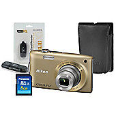 DS Nikon Coolpix S3300 Gold Camera Kit inc Leather Case, 8GB SD & USB Card Reader
