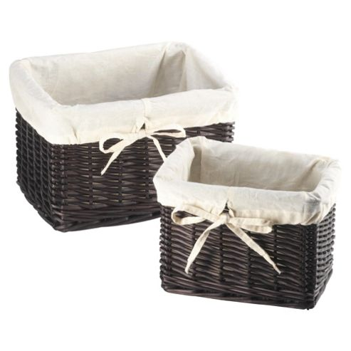 Tesco Wicker Lined Baskets set Of 2 Chocolate colour