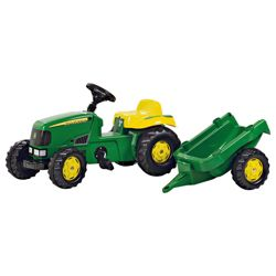John Deere Tractor Pedal Ride-On With Trailer