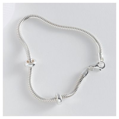 Sterling Silver Snake Chain Bracelet And Stoppers