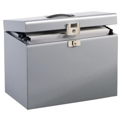 Metal File Box Silver