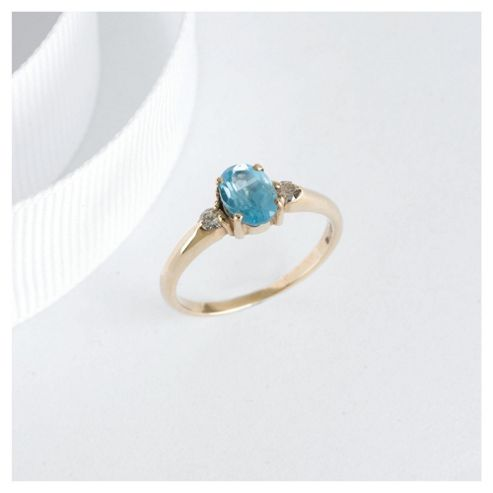9ct Yellow Gold Blue Topaz And Diamond Rings, L