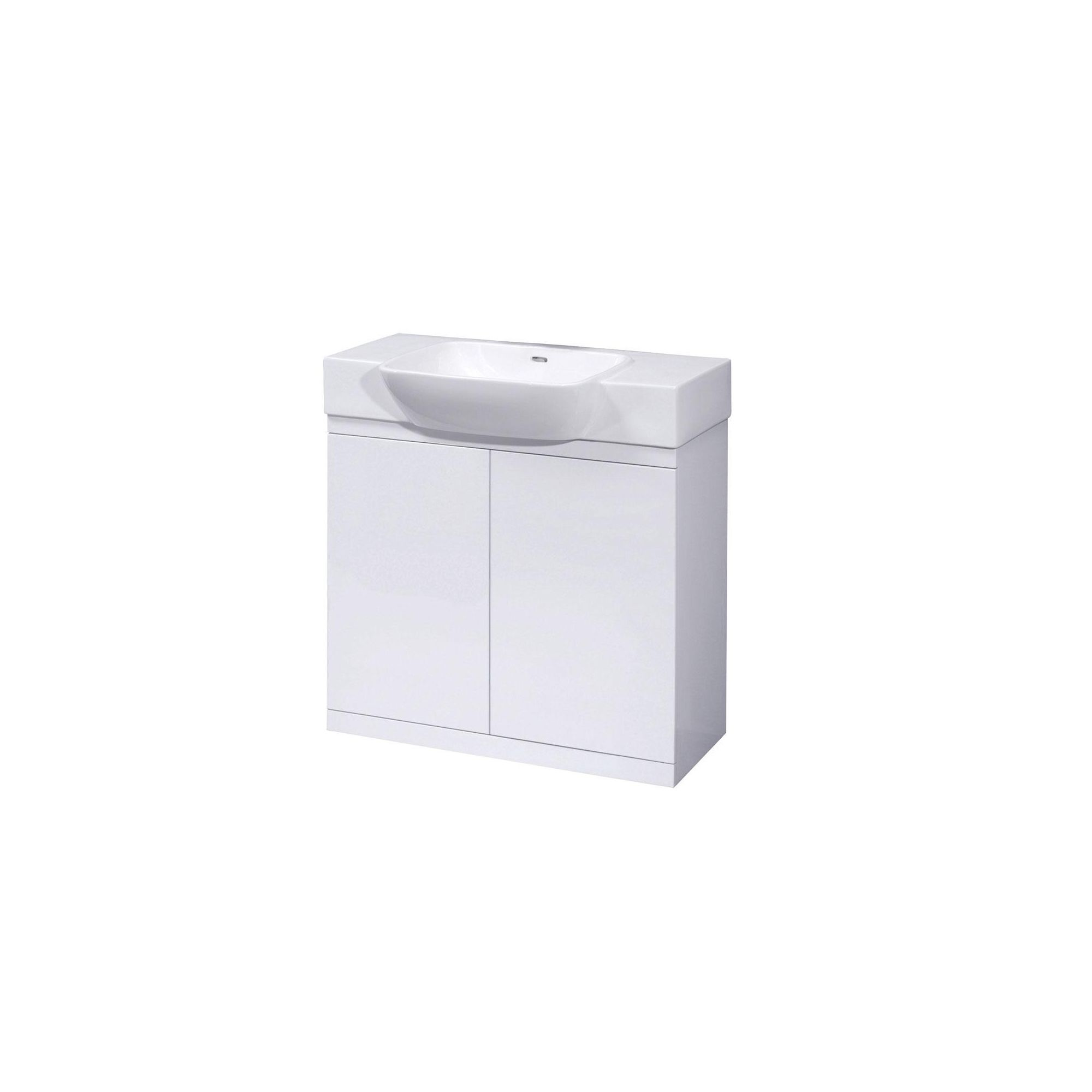 Ultra lux white floor mounted vanity unit and basin 695mm for Bathroom cabinets 800mm high