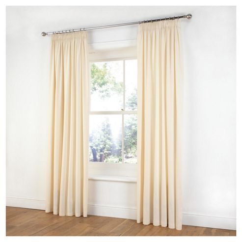 Tesco Plain Canvas Unlined Pencil Pleat Curtains W117xL137cm (46x54