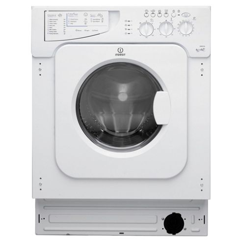 Indesit Ecotime IntegratedWasher Dryer, IWDE 126 (UK), 6KG load, with 1200 rpm - White