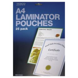 Tesco Home & Office A4 Laminator Pouches 25 Pack