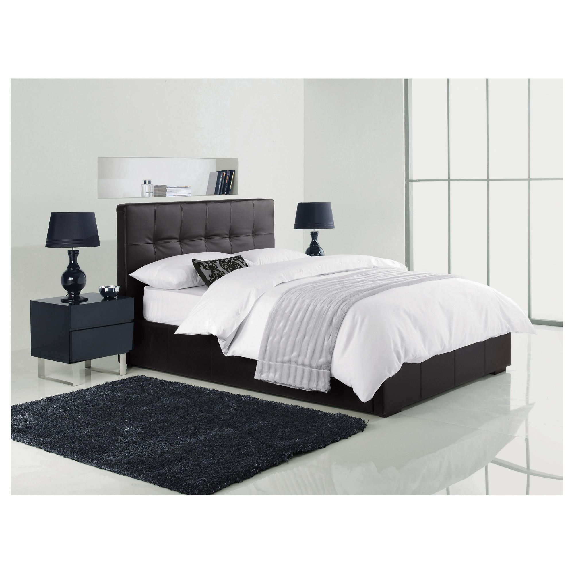 Orleans King Faux Leather Storage Bed, Black at Tescos Direct