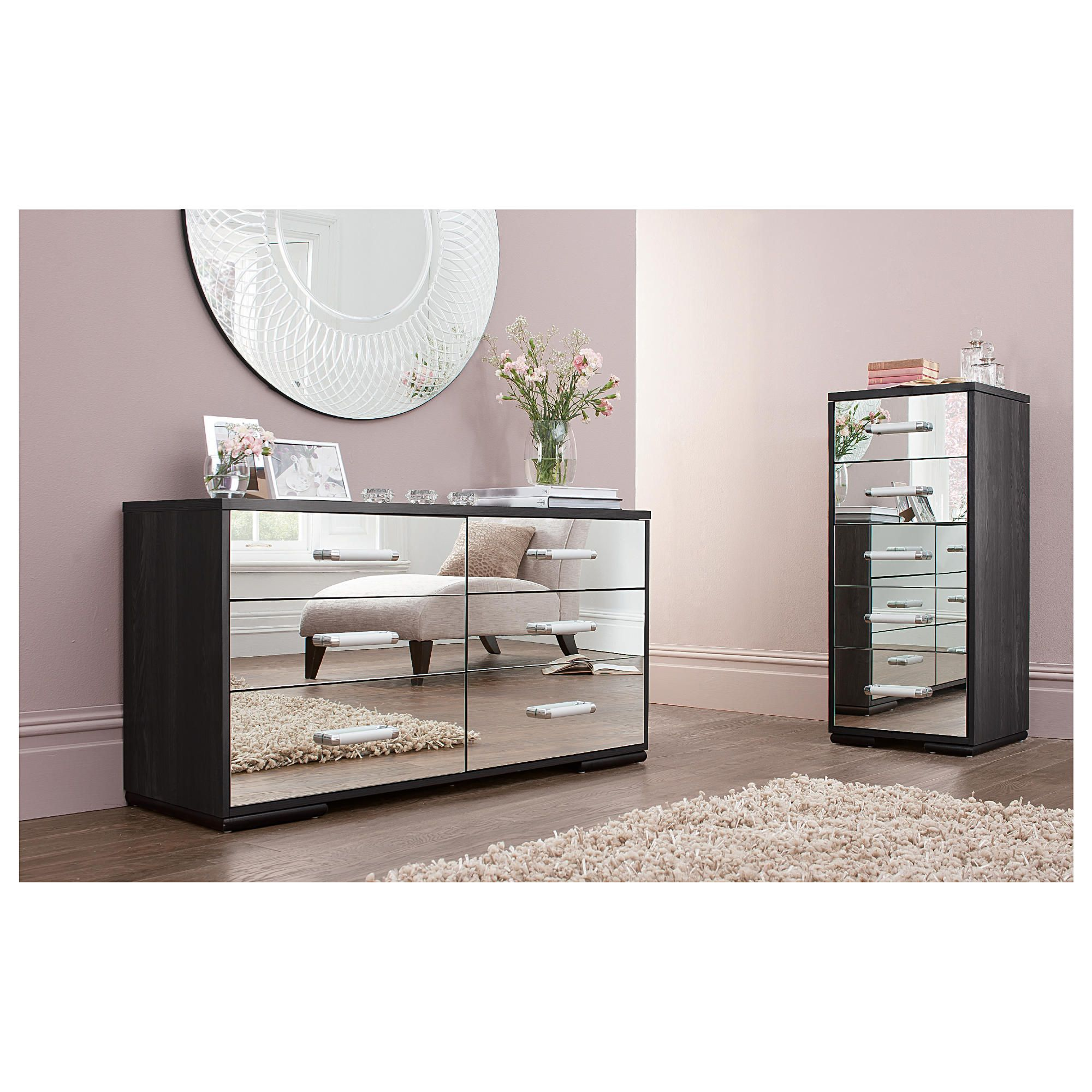 Sophia Tall & 6 Drw Wide Chest Set Mirrored at Tesco Direct
