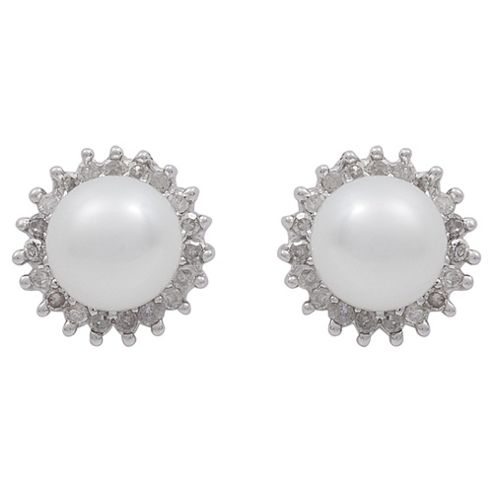 9ct White Gold Pearl And Diamond Cluster Studs