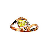 QP Jewellers Diamond & Peridot Flare Ring in 14K Rose Gold