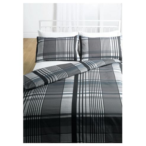Tesco Check Print Kingsize Size Duvet Cover Set, Grey