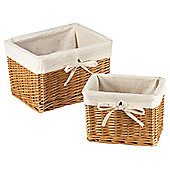 Tesco Wicker Lined Baskets set Of 2 Honey colour