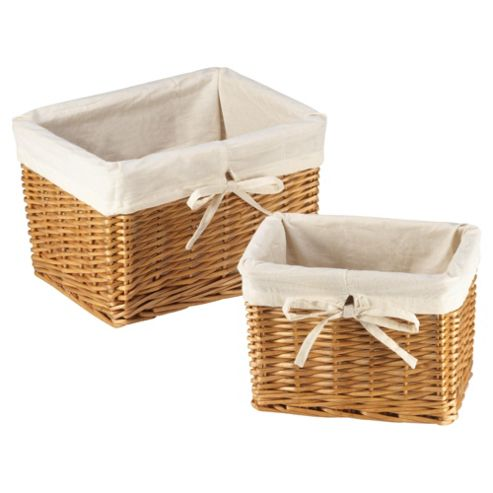 Tesco Basic Wicker Lined Baskets set of 2 Honey colour