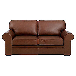 Buy york regular leather sofa bed cognac from our sofa for Sofa bed tesco