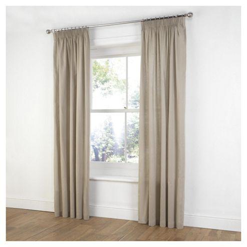 Tesco Plain Canvas Unlined Pencil Pleat Curtains W117xL183cm (46x72