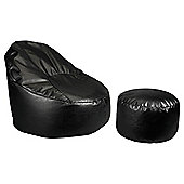 Faux Leather Oval Chair & Footstool, Black