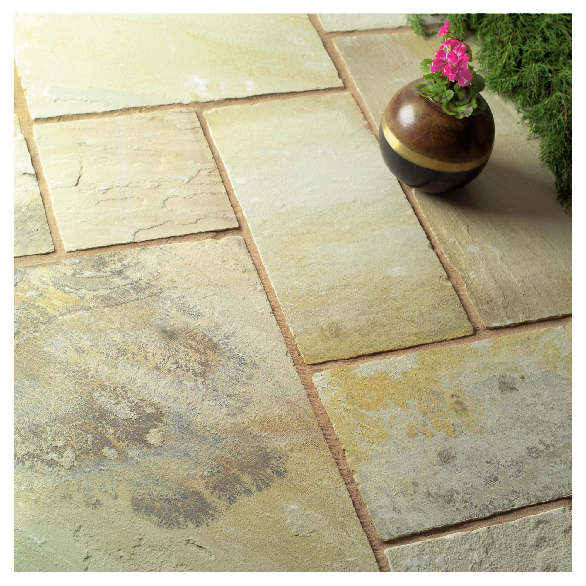 Natural Stone Fossilstone 600x290mm Paving 80pc at Tesco Direct