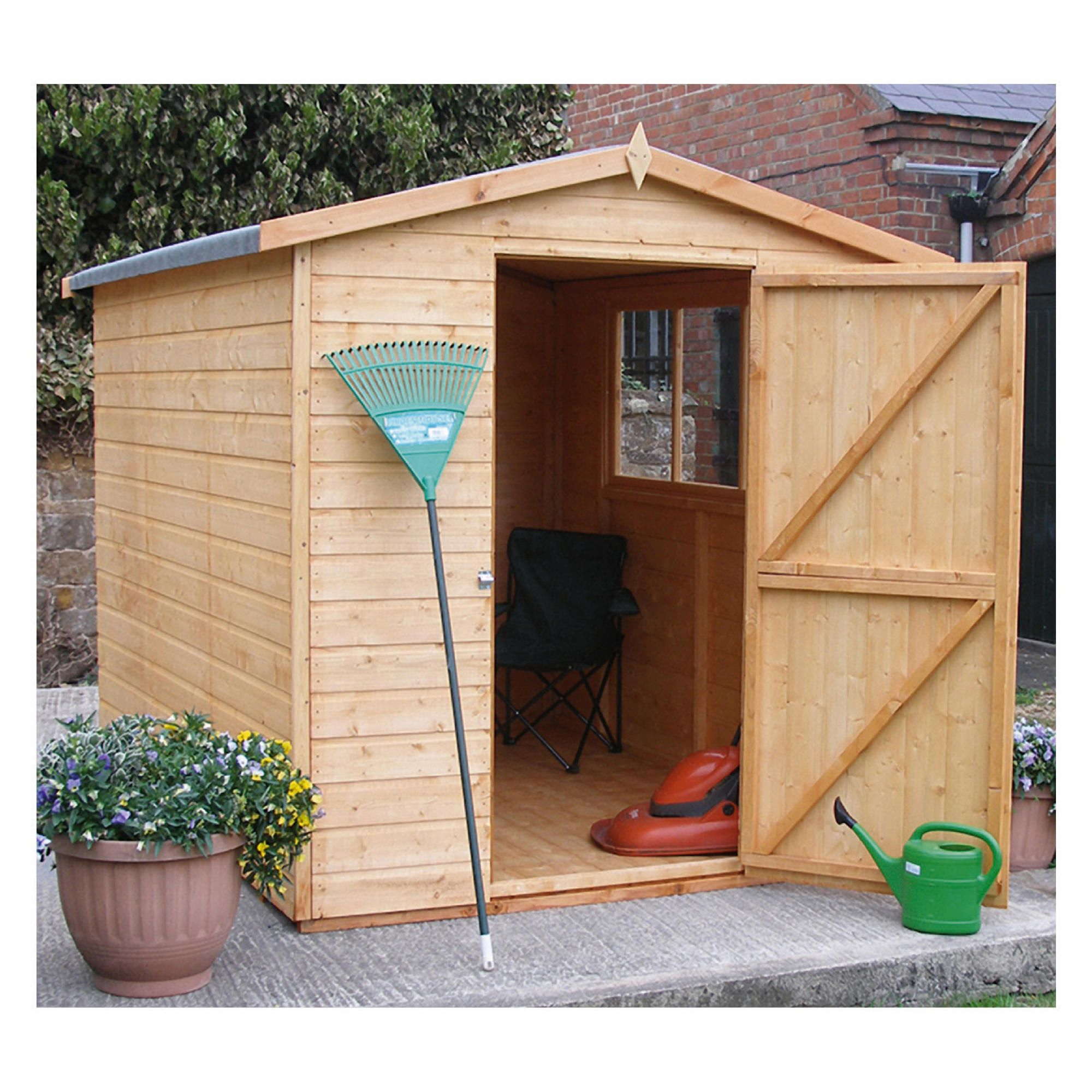 8x6 finewood classic apex shed with topcoat with for Garden shed tesco