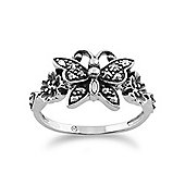 Gemondo Sterling Silver 0.28ct Marcasite Victorian Style Butterfly Ring