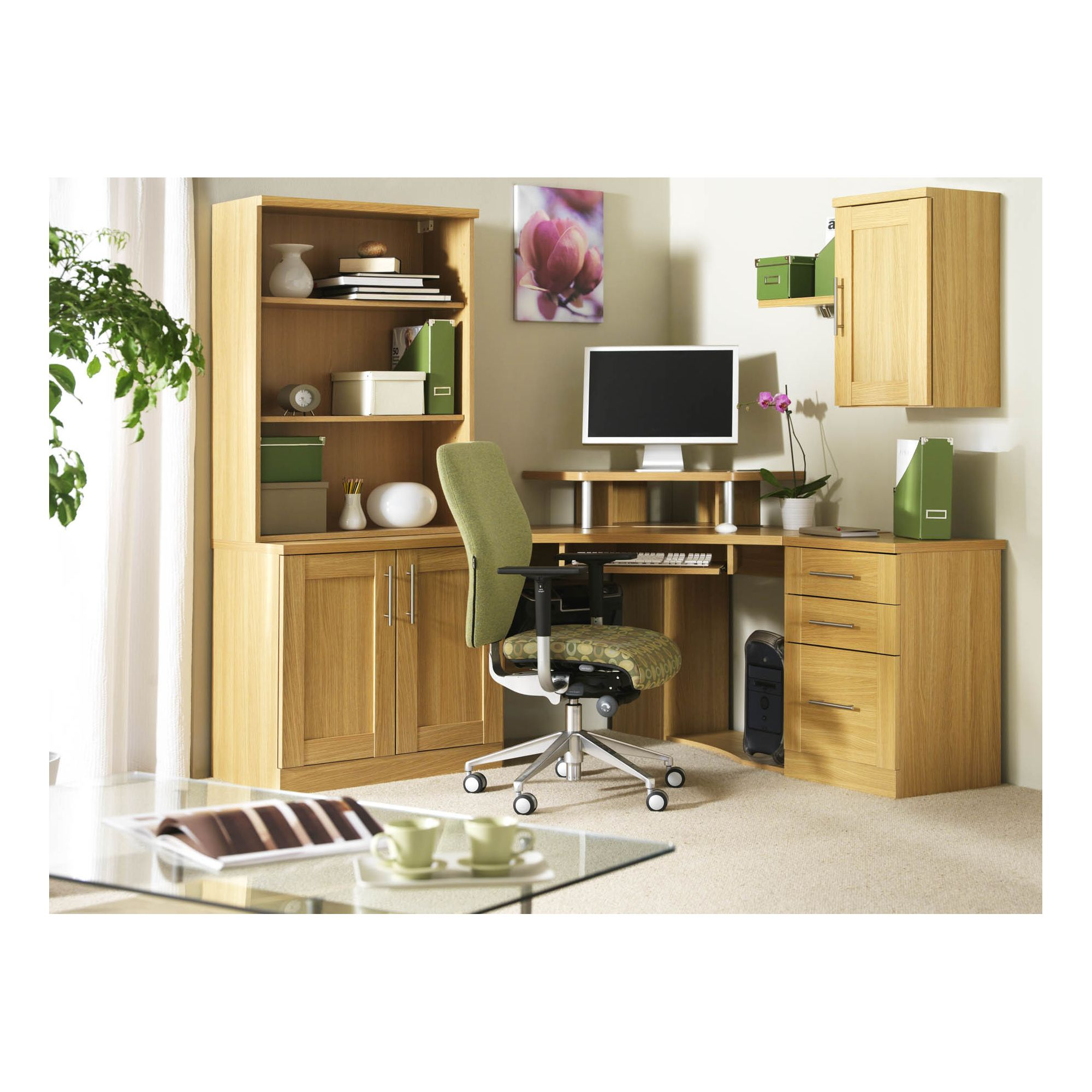 Caxton Home Office Corner Unit Combination - Walnut at Tesco Direct
