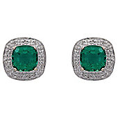 9ct Yellow Gold Created Emerald And Diamond Earrings