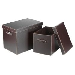 Faux Leather Trunks Set Of 2