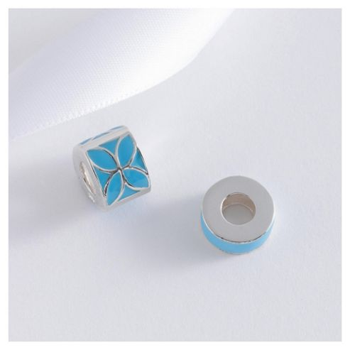 Sterling Silver Set Of 2 Blue Enamel Bead Charms
