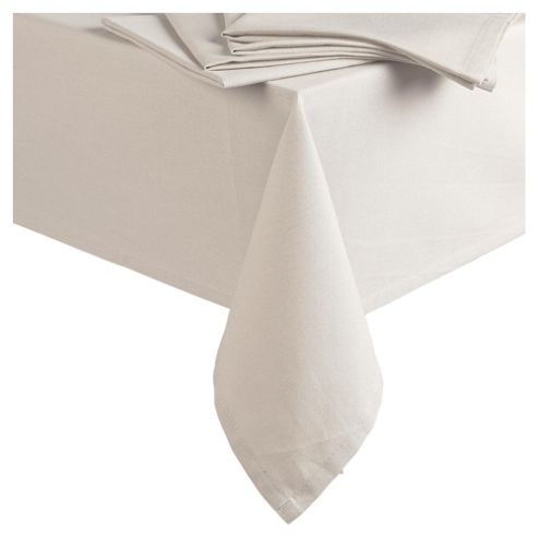 Tesco Tablecloth & Set of 4 Napkins, Cream