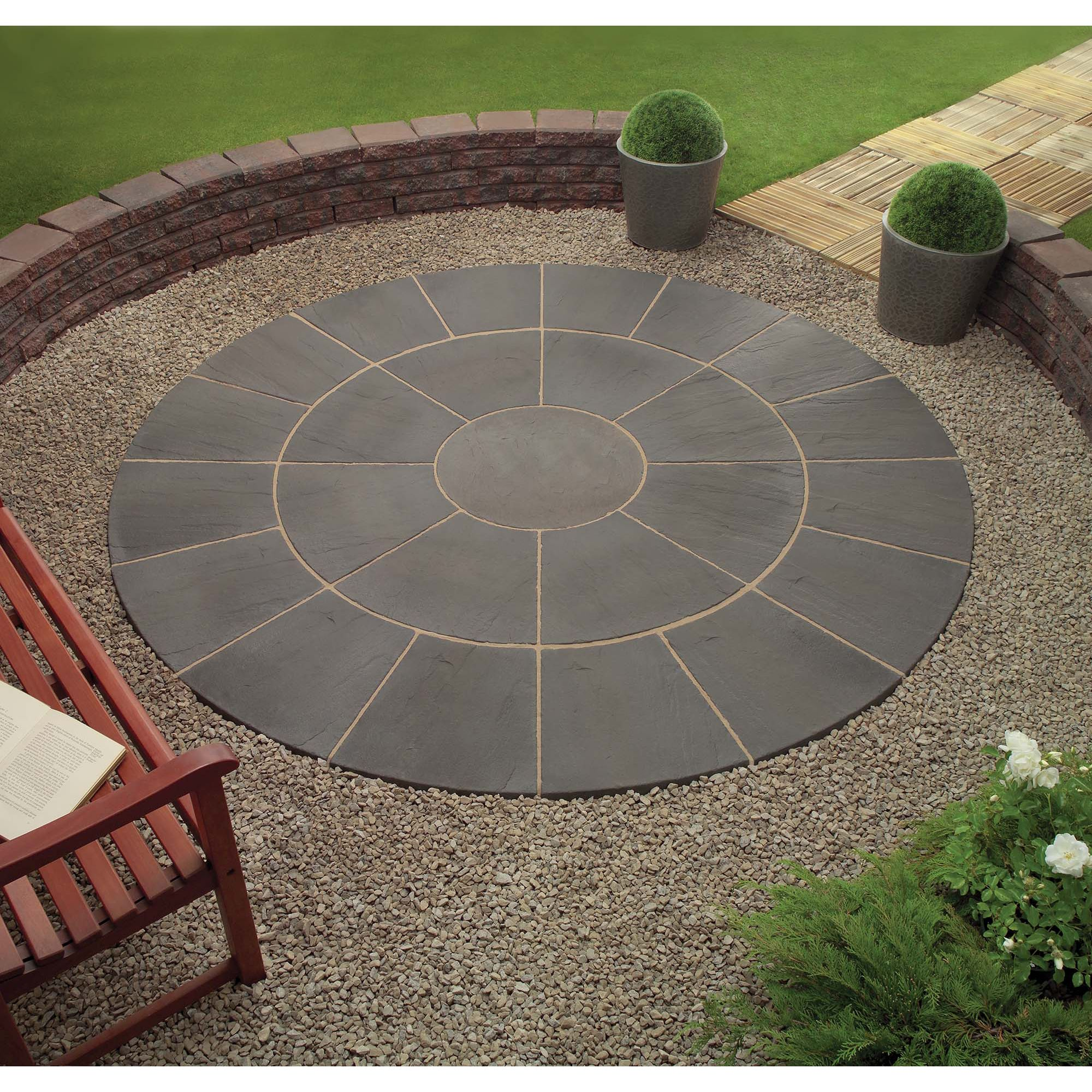 Oxford Cornish Slate Circle + Patio Base Kit at Tesco Direct