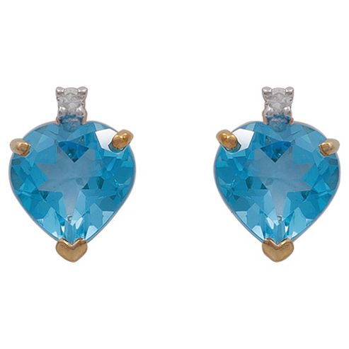 9ct Yellow Gold Blue Topaz And Diamond Earrings