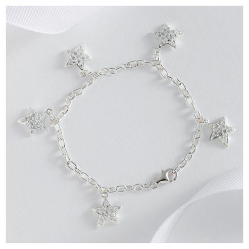 Sterling Silver Cubic Zirconia Star Bracelet