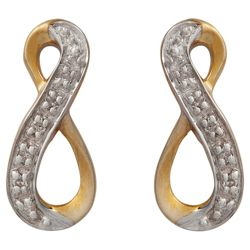 9ct Gold Diamond Twist Loop Earrings