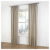 "Tesco Plain Canvas Unlined Pencil Pleat Curtains W117xL229cm (46x90""), Taupe"