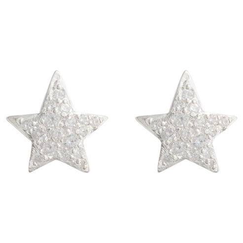 Sterling Silver Cubic Zirconia Star Earrings