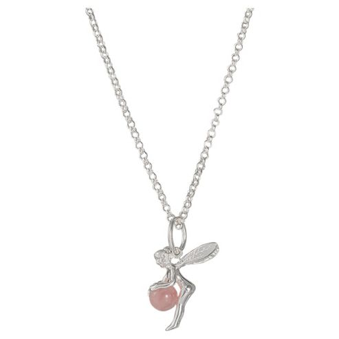 Sterling Silver Rose Quartz Fairy Pendant