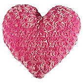 Tesco Kids Rose Fur Heart Cushion, Pink