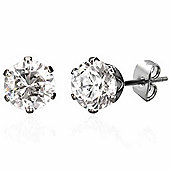 Urban Male Men's Round CZ Stainless Steel Stud Earrings 6mm