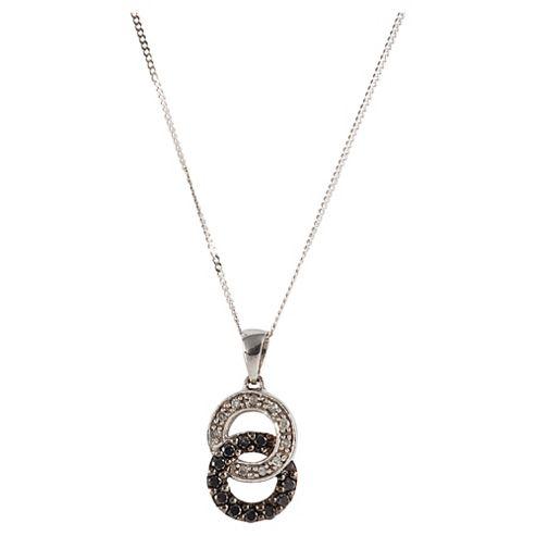 9ct White Gold Black And White Diamond Link Pendant